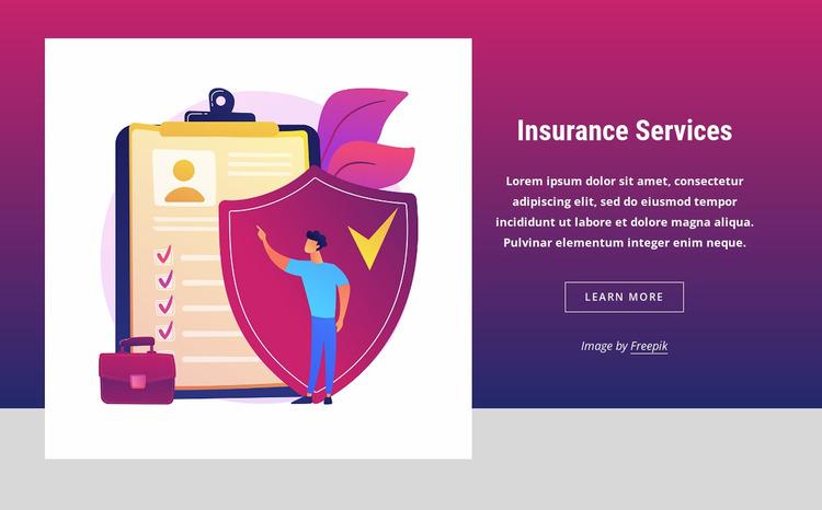 Popular insurance products WordPress Website Builder