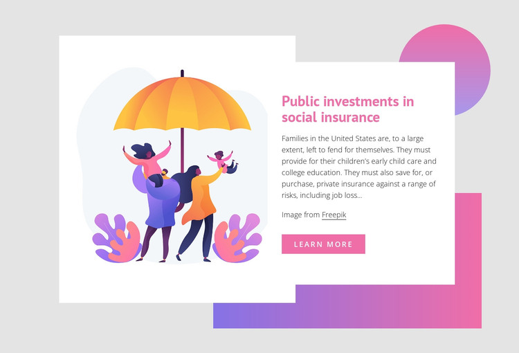 Public investments in social insurance WordPress Theme