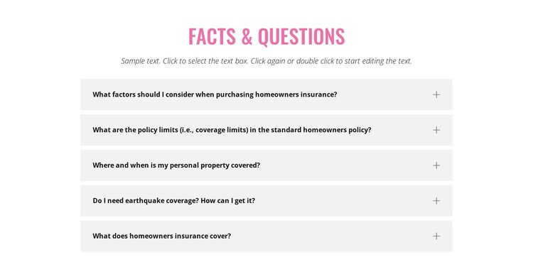 Common insurance questions CSS Template