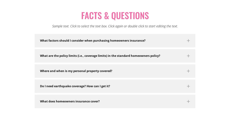 Common insurance questions HTML Template