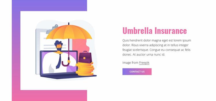 Umbrella insurance Website Mockup