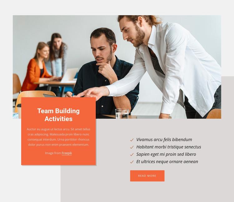 Team building activities Website Mockup