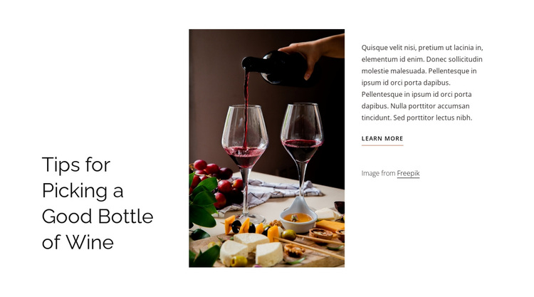 Good bottle of wine Joomla Page Builder