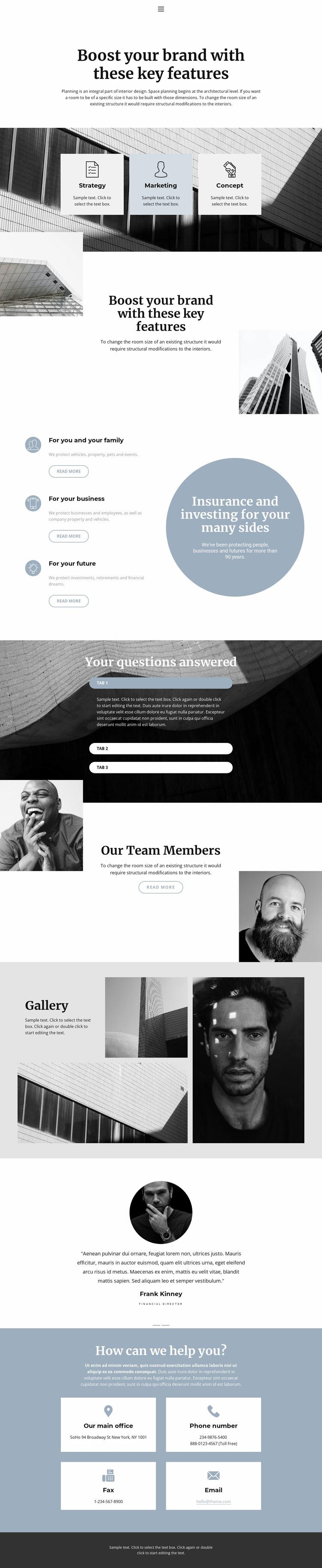 Organization of large business Website Mockup