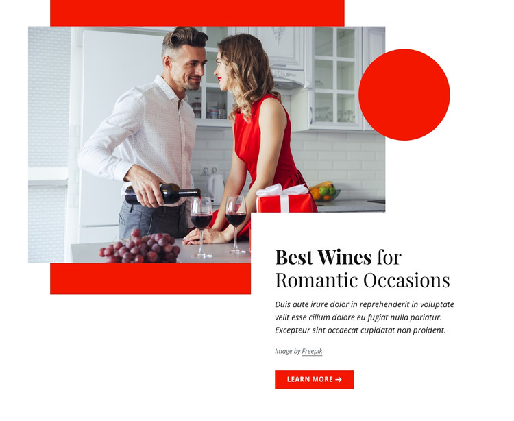 Best wines for romantic occasions HTML Template
