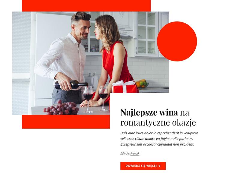 Najlepsze wina na romantyczne okazje Szablon witryny sieci Web