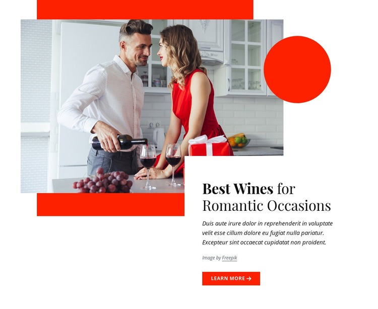 Best wines for romantic occasions Web Page Design