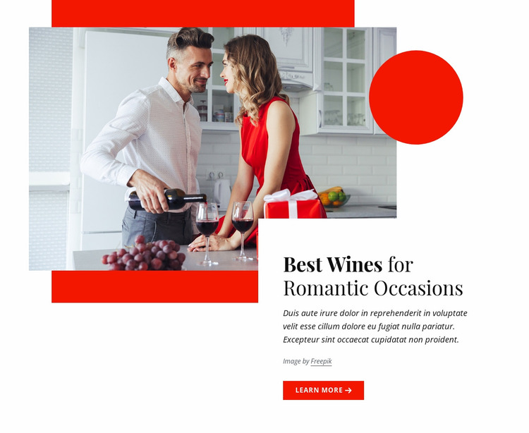 Best wines for romantic occasions Website Mockup