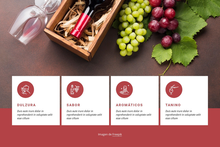 Empezando con el vino Plantilla de sitio web