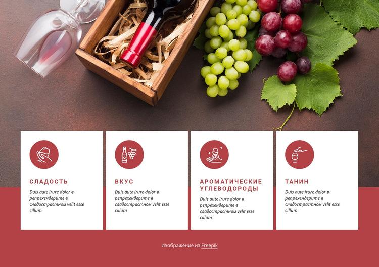 Начало работы с вином Шаблон веб-сайта