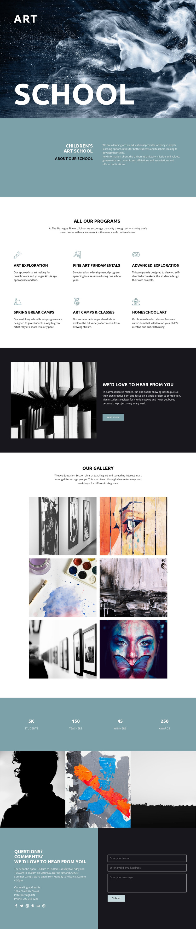 School of artistic education HTML5 Template