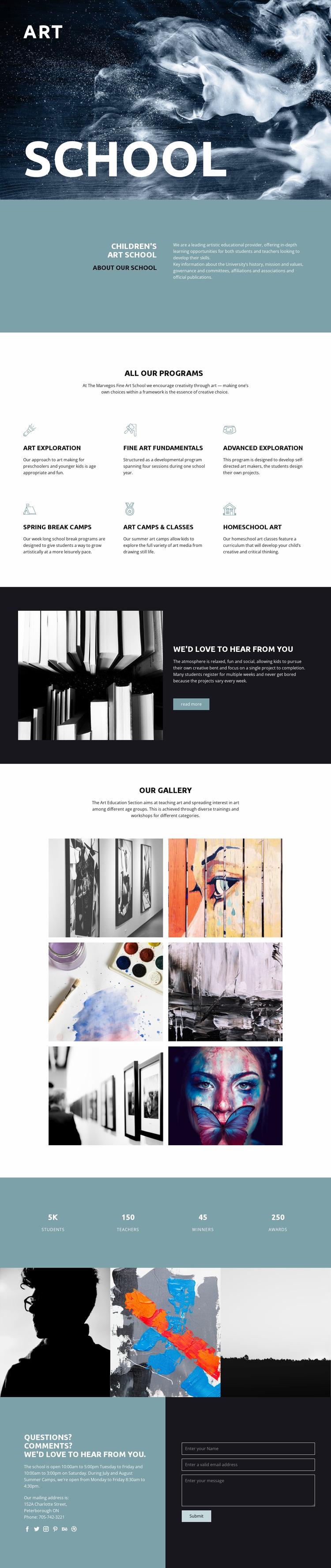 School of artistic education Website Mockup