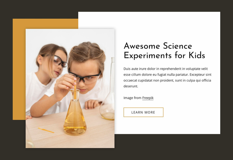Awesome science experiments for kids Website Mockup