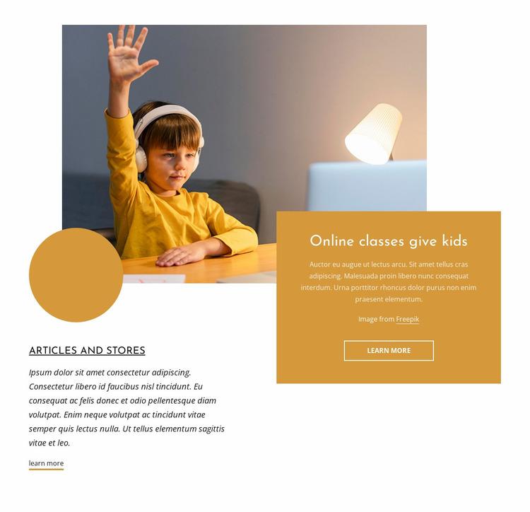 Online classes for kids Website Mockup
