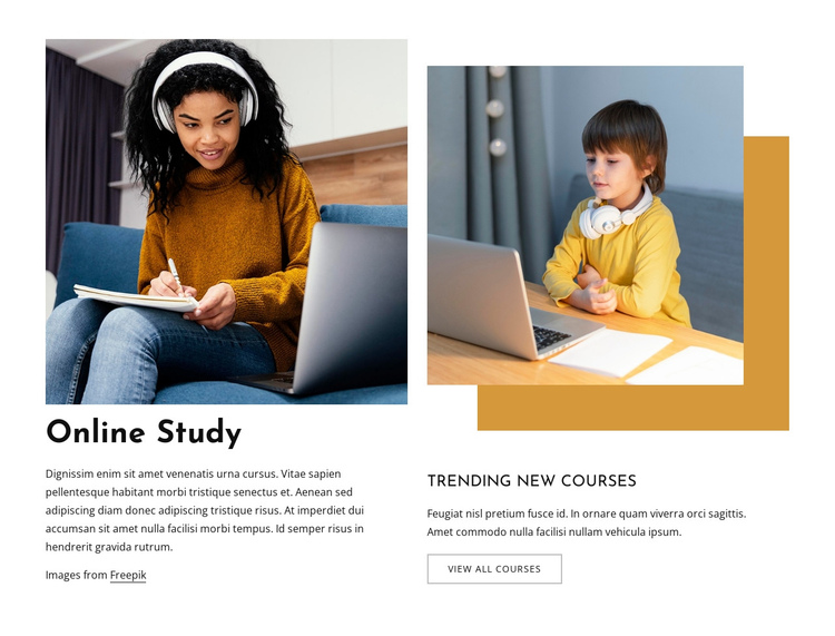 Online study for kids One Page Template