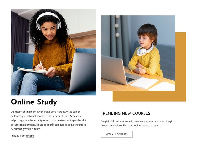 Online study for kids Web Page Design