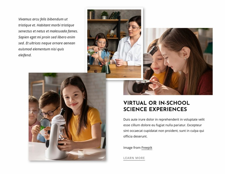 Science experiments for kids Website Creator