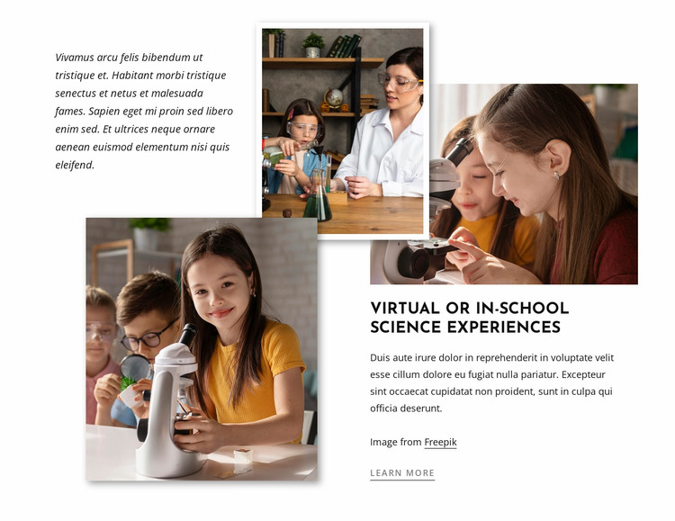 Science experiments for kids Website Mockup