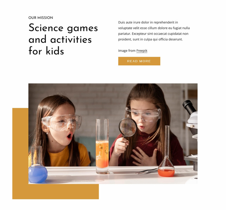 Science games for kids Website Template