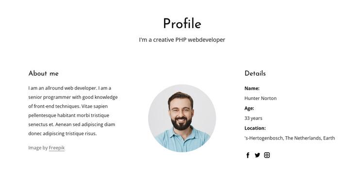 Web developer job profile HTML Template