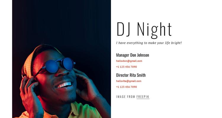 DJ contacts Website Builder Software