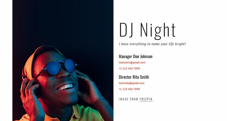 DJ contacts Website Mockup