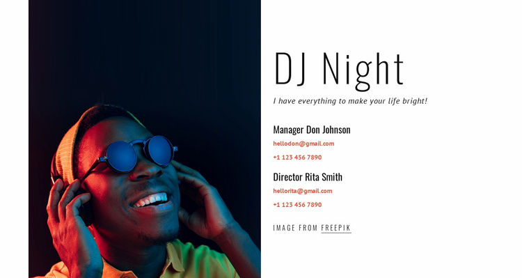 DJ contacts Website Template