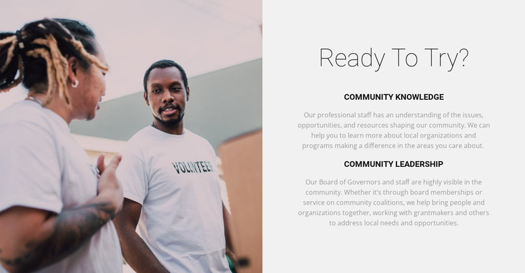 Our volunteers will help Website Template