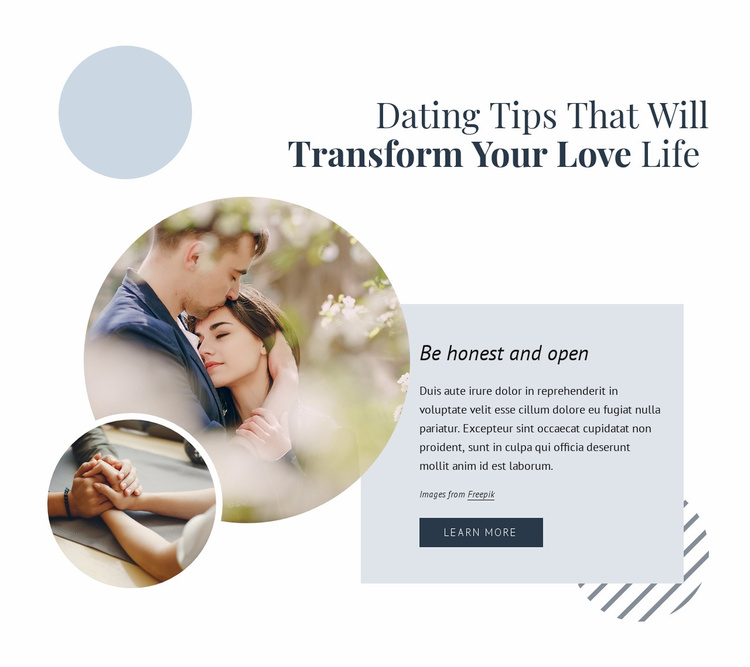 Tips for dating and relationships Website Template