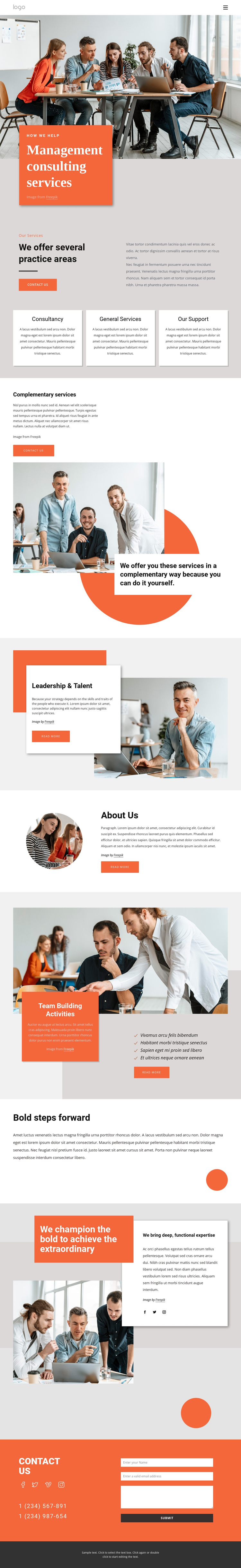 We help you grow and develop One Page Template