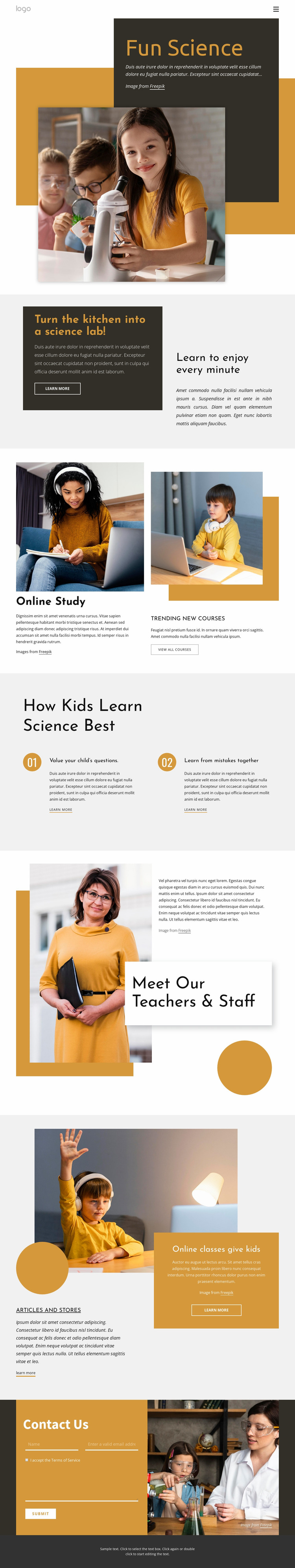 Cool science project Website Mockup