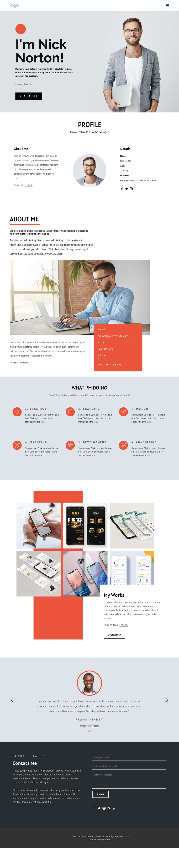 Web Developer with 8 years of experience One Page Template