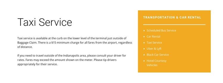 Taxi service Static Site Generator