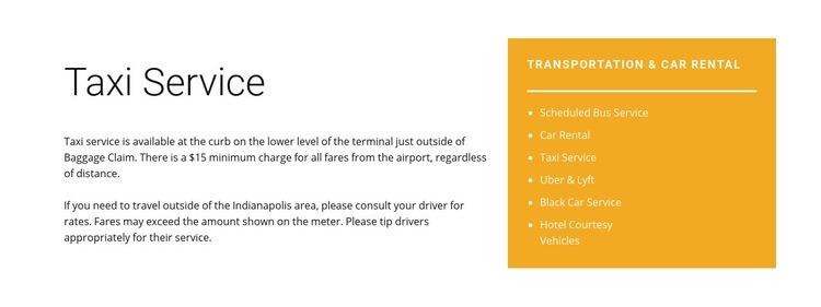 Taxi service Web Page Design