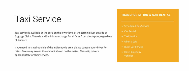 Taxi service Website Mockup