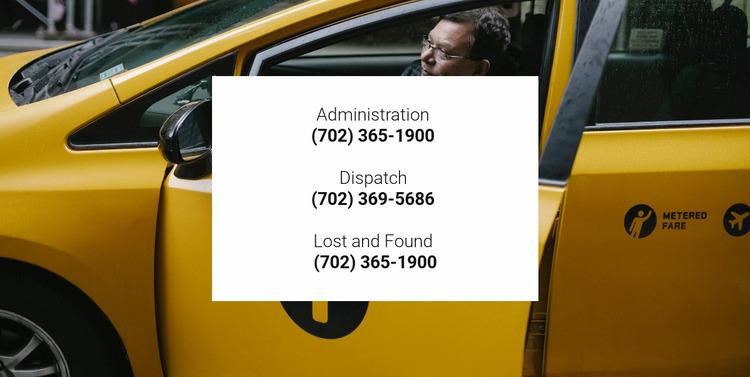 Taxi contacts Website Mockup