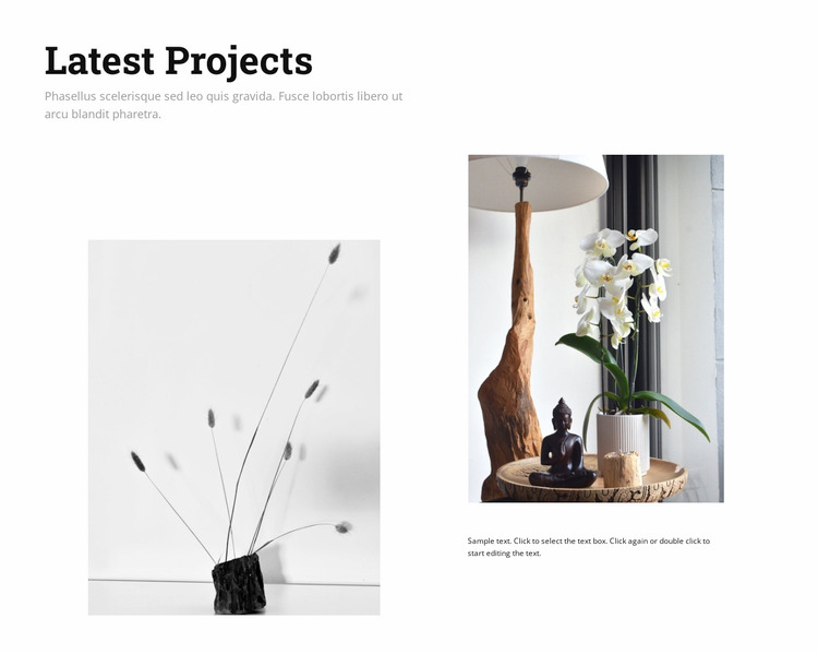 Latest interior design projects WordPress Website Builder