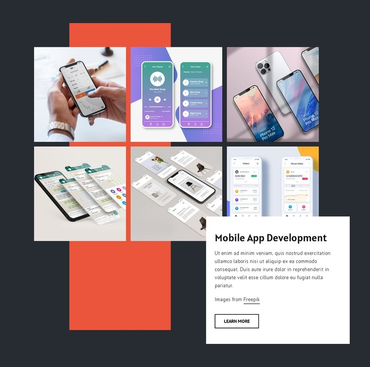 Mobile app development portfolio Html Code Example
