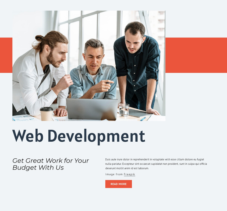 We design and build products Website Mockup
