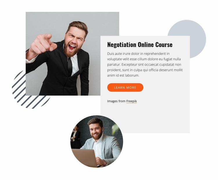 Negotiation online course Website Mockup
