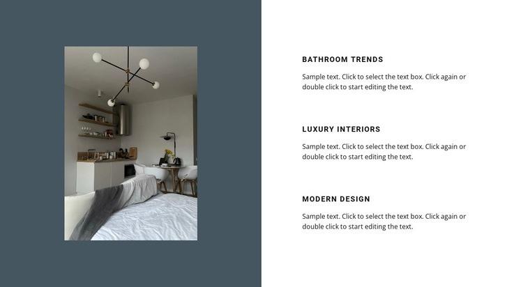 Interior on a dark background Web Page Design