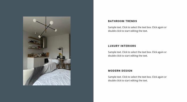 Interior on a dark background Web Page Designer