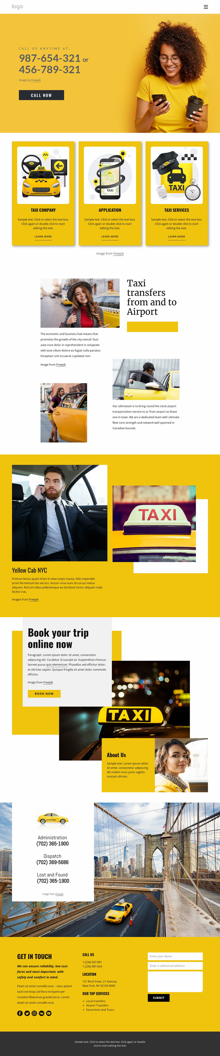 Quality taxi service Website Mockup