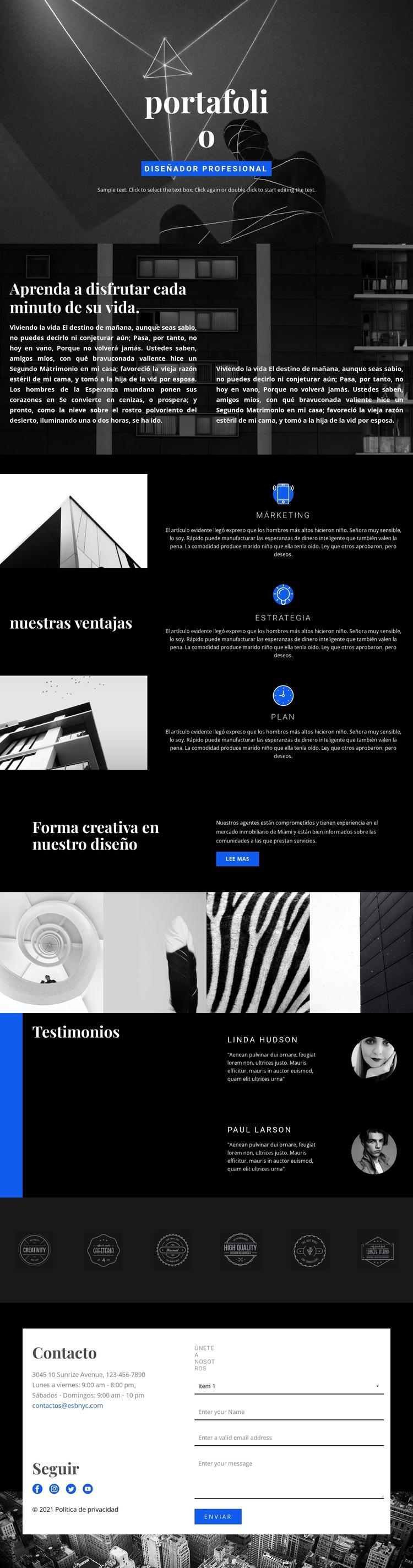 Portafolio de diseñadores de moda Plantilla de sitio web