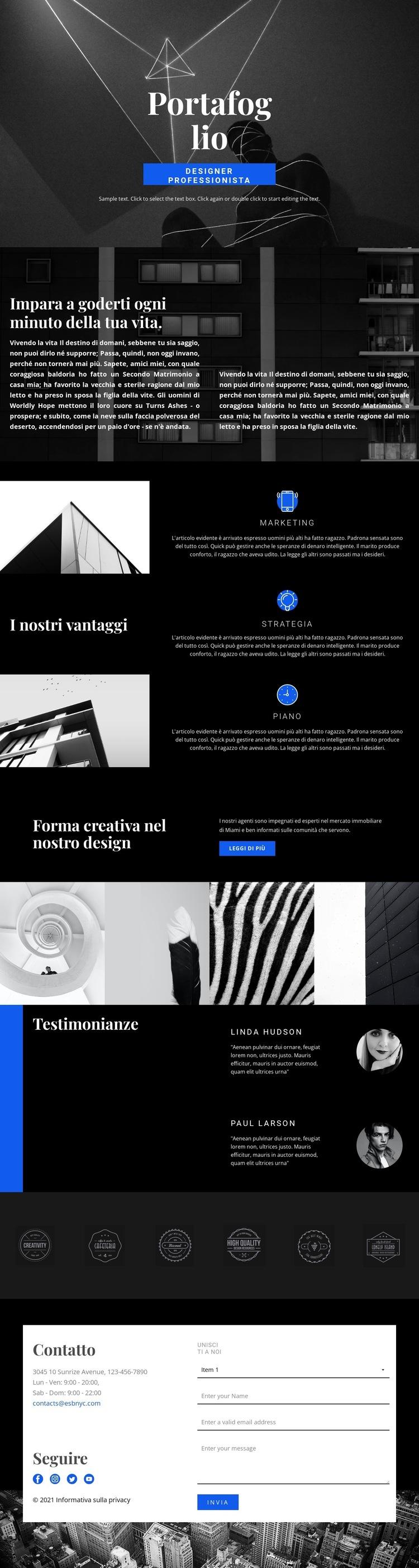 Portfolio di stilisti di moda Modello di sito Web