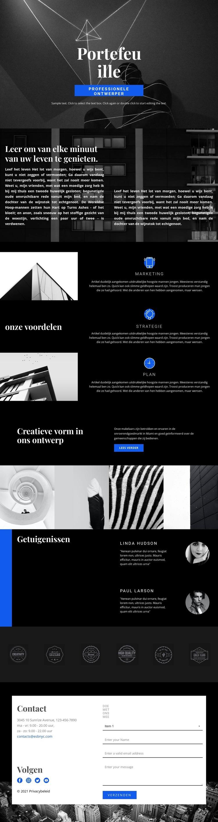 Portfolio van modeontwerper Website sjabloon