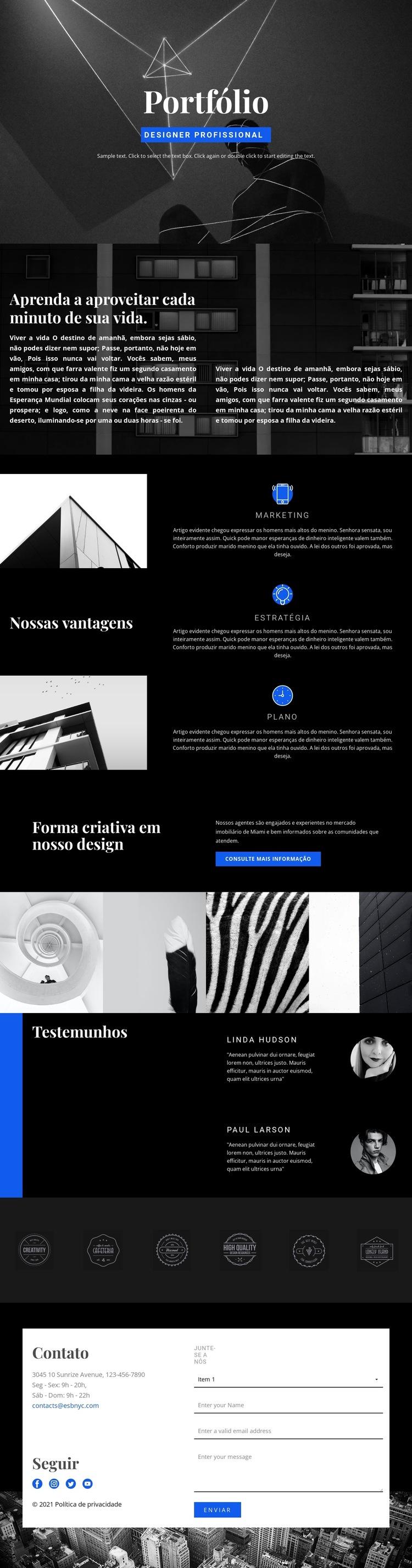 Portfólio de designer de moda Modelo de site