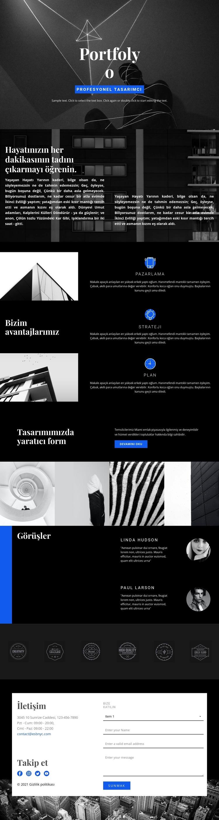 Moda Tasarımcısı Portföyü Web Sitesi Şablonu