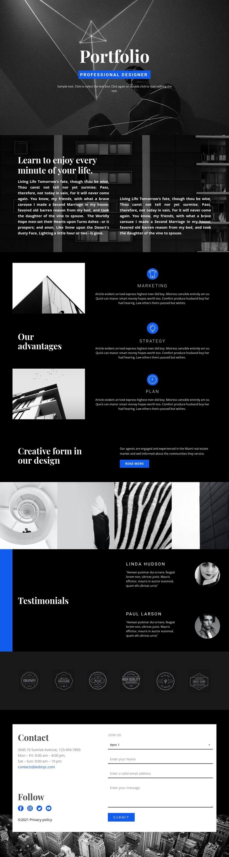 Fashion Designer Portfolio Web Page Design