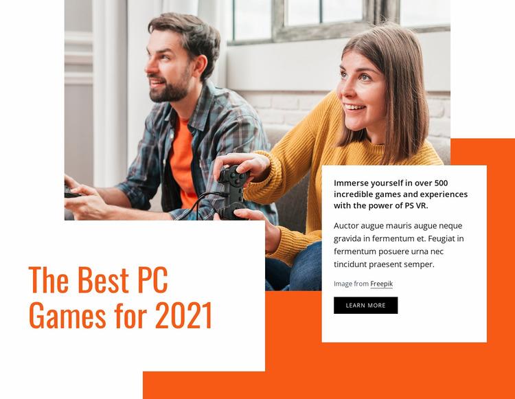 The best pc games Website Mockup